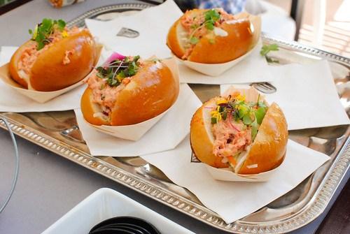 Terranea lobster rolls; peach blueberry oat streusel pie