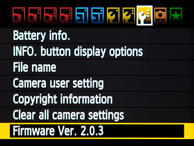 Canon 7D EOS Firmware 2.0 2 2.0.3 update