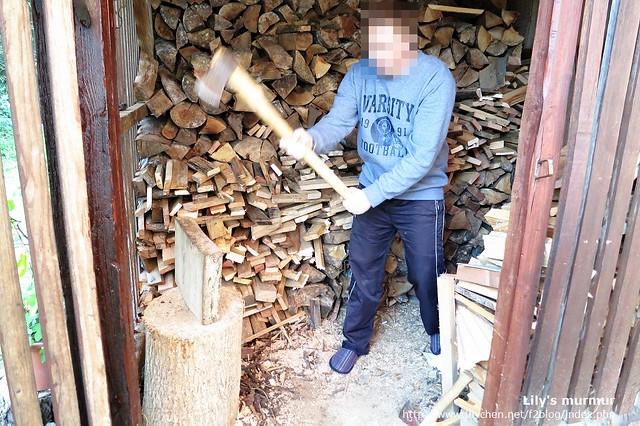 看尼劈柴乾淨俐落,一下子就劈好了,突然覺得劈柴的他很帥氣。XD