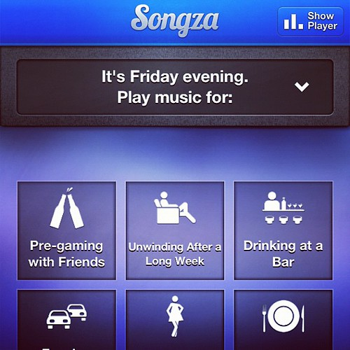 "<heads-up friends> Download the free music App called ""Songza"". It's like @Pandora, but instead of picking an artist, you choose the ""mood"" of music you want to hear (which the options change based on the time of day and weekday you open the App). Super s"