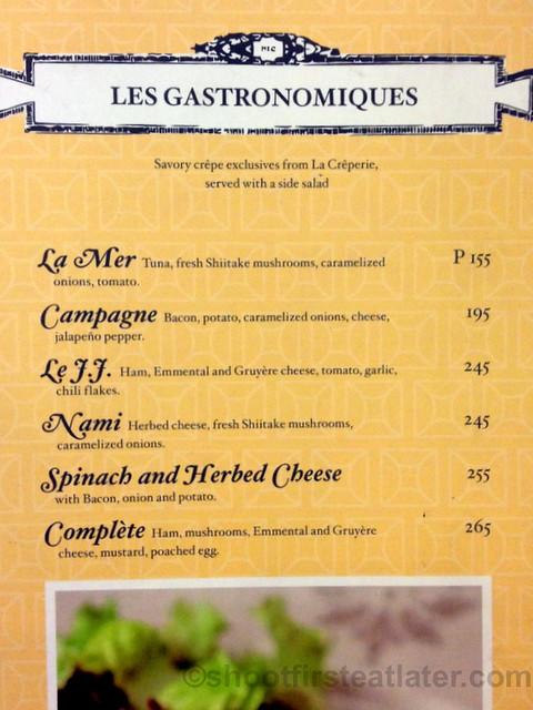 La Creperie savory crepe menu