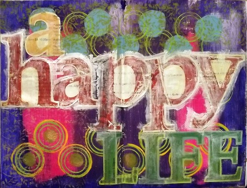 My Altered Book: Title Page: A HAPPY LIFE