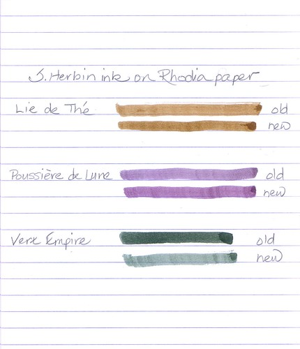 J. Herbin Ink -  New Formula Comparison