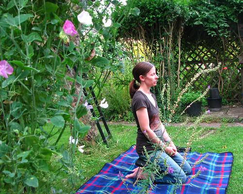 mama meditates in the garden