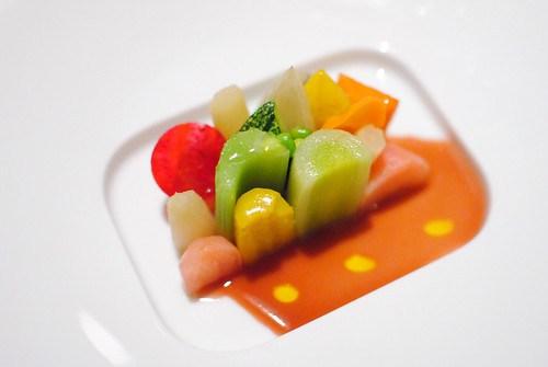 "Seasonal Glazed Vegetable Mosaic ""jus de cuisson,"" lemon oil"