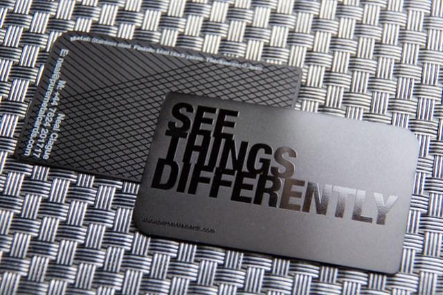 Pure Metal Cards Business Card Matt Black Prism
