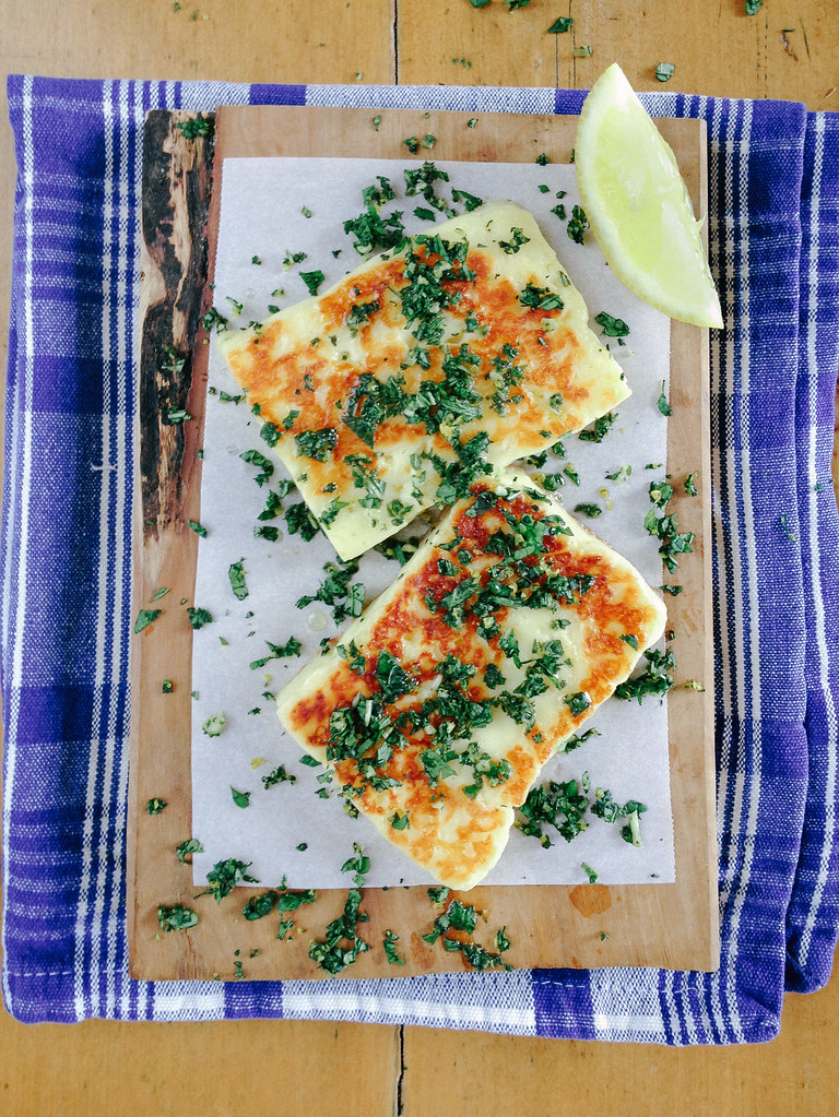 Fried Halloumi with Mint Gremolata