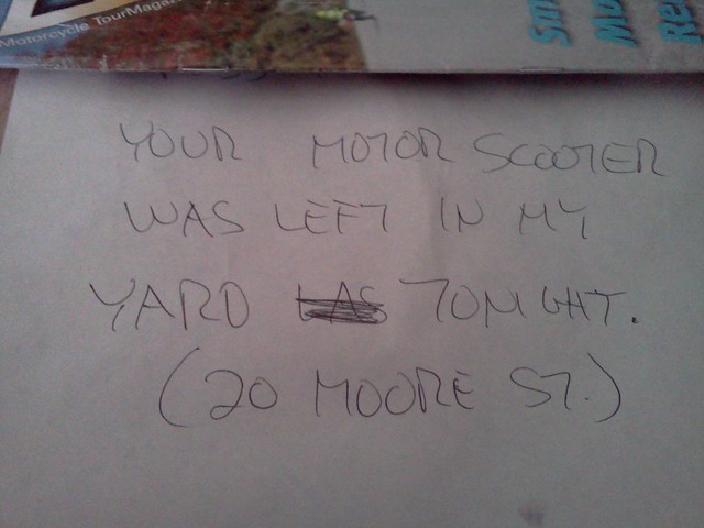 Stolen scooter note