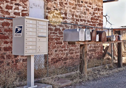 Birds On A Wire. Row of mailboxes along old Route 66 in New Mexico. Copyright Jen Baker/Liberty Images; all rights reserved.
