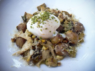 hash of sous vide chicken, fingerling potatoes, scallions and sous vide egg