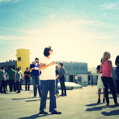 Gathered on the roof to #spottheshuttle