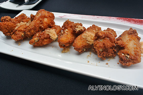 Signature iWings - fried chicken wings served with chicken floss