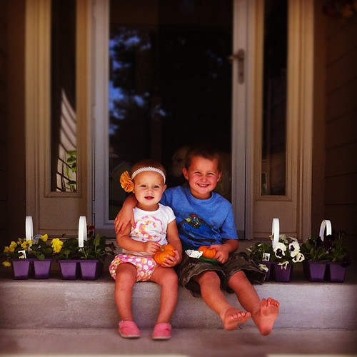 Pansy flats were $2.99. I can't say no to pretty flowers and happy children.