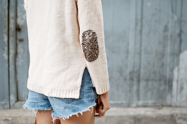 DIY SEQUIN ELBOW PATCH SWEATER 2