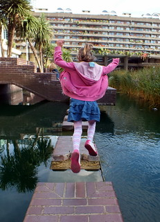 Millie jumping at the Barbican