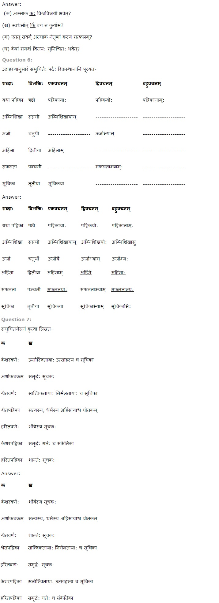 NCERT Solutions For Class 7th Sanskrit Chapter 8 त्रिवर्ण ध्वज PDF Download