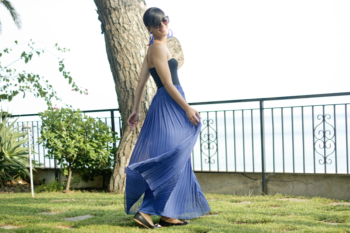 Lightness is a long blue skirt