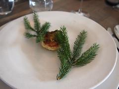 Cauliflower and pine. Cream and horseradish