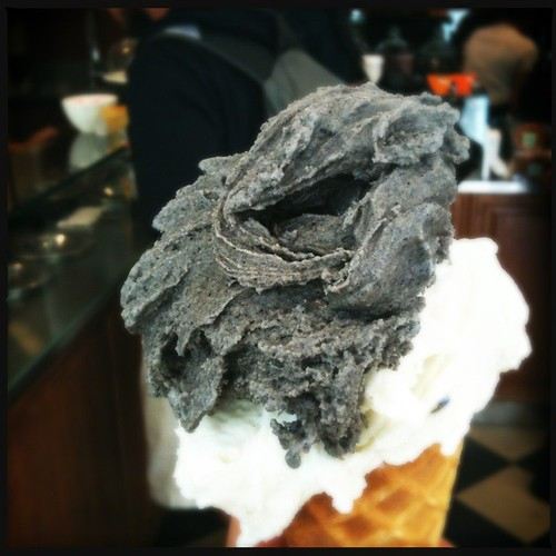 Black sesame and lavender gelato
