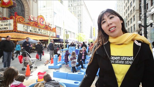 Julia Kim at Open Streets on State Street - photo courtesy of Active Trans
