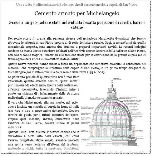 ROMA CRISTIANA RESTAURO ARCHITETTURA: Cemento armato per Michelangelo - Uno studio inedito sui materiali e le tecniche di costruzione della cupola di San Pietro. L`OSSERVATORE ROMANO, VATICANO. (06/04/2011, p. 5). by Martin G. Conde