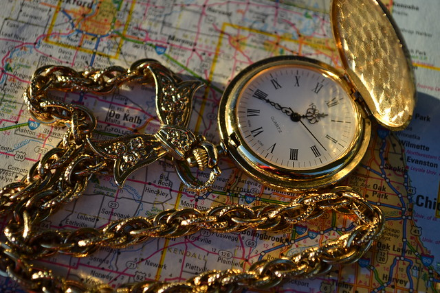 Sparkly Gold Pocket Watch Chain with Map of Dekalb, Illinois