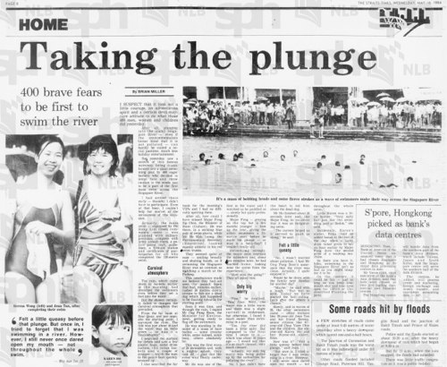 """The Straits Times, 16 May 1984, Page 8 - """"Taking the plunge"""" in the Singapore River"""