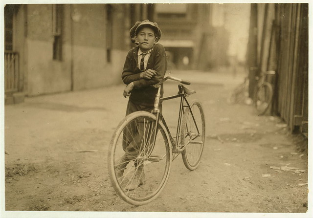 Messenger boy working for Mackay Telegraph Company. Said fifteen years old. Exposed to Red Light dangers.  (LOC)