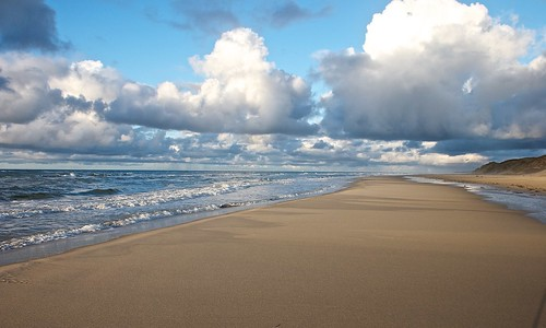 Beach clouds and sea