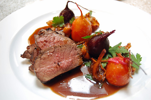 Spicy Venison Steak served with Beetroots and Chanterelles