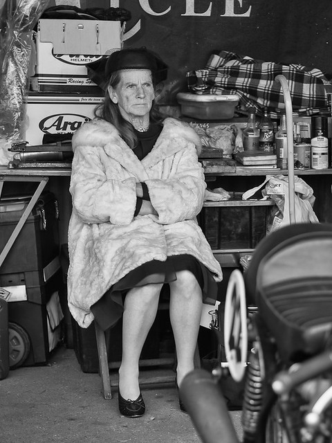 Lady in the bike shed