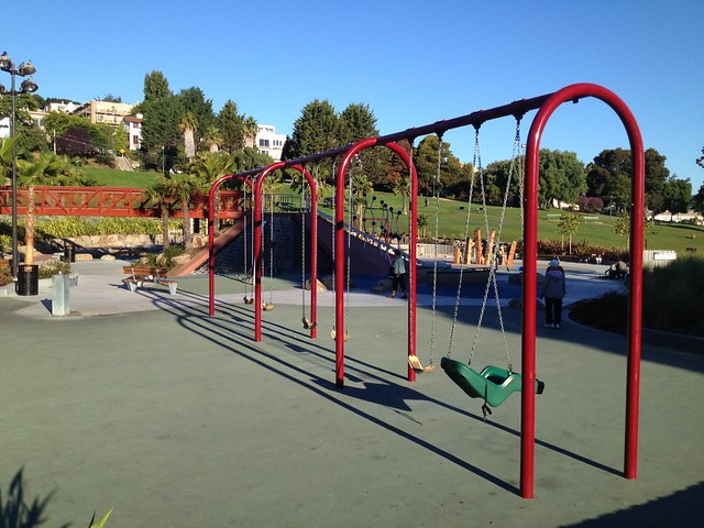 Red swing set, Helen Diller Playground, Dolores Park