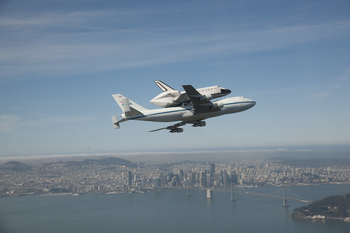 Endeavour Over California's Bay Bridge (ED12-0317-011)
