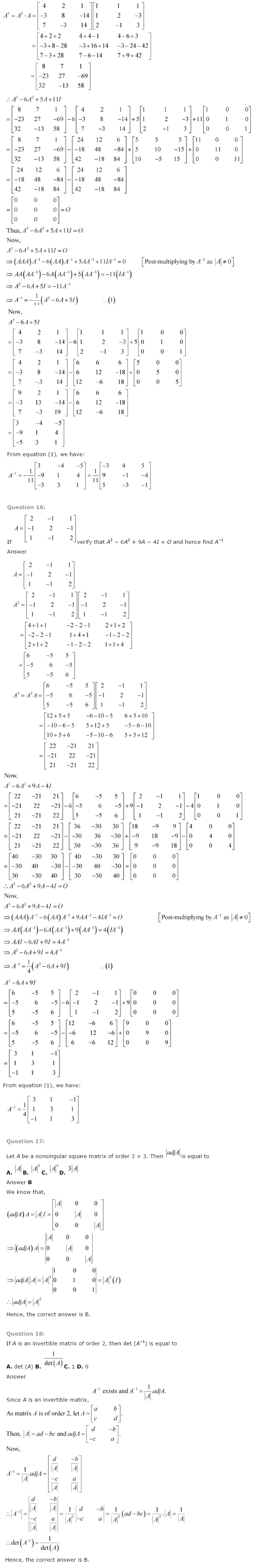 NCERT Solutions for Class 12 Maths Chapter 4 Determinants ex 4.11
