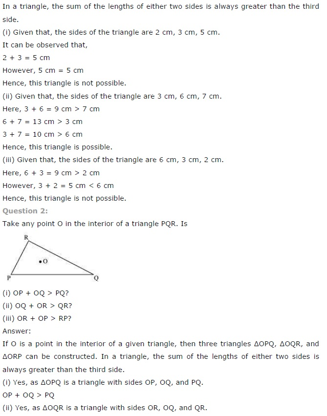 NCERT Solutions for Class 7th Maths Chapter 6 The Triangle and its Properties Exercise 6.4