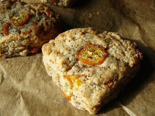 Kumquat poppy seed scones