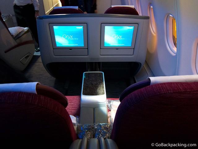 Business class on the Qatar Airways flight from Doha to Jakarta