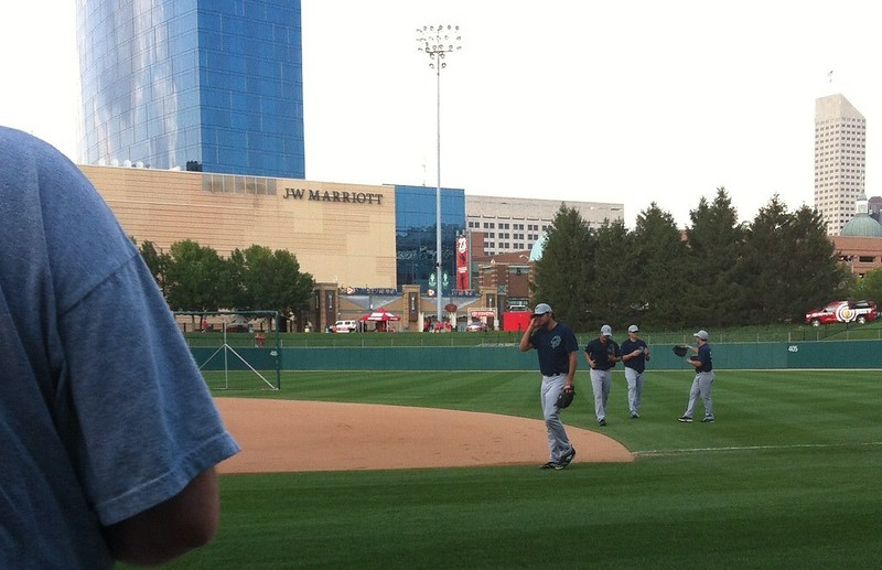 Charlotte Knights coming in from pre-game practice at Victory Field