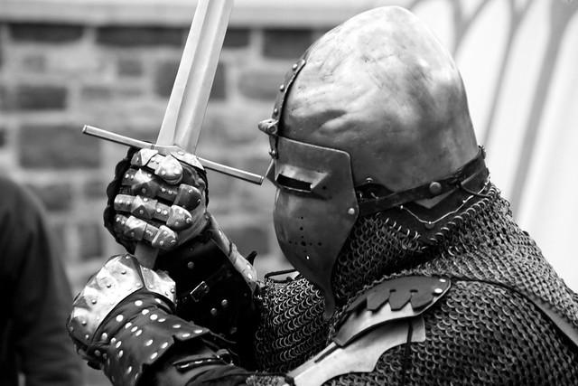 portrait of a medieval sword fighter