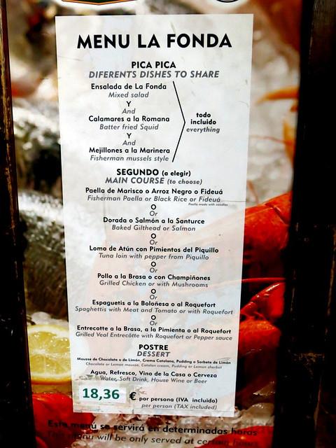 La Fonda Del Port Olimpic's menu €17
