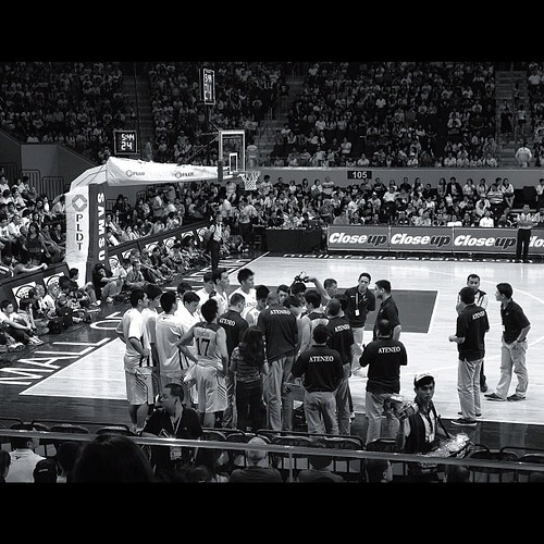 Timeout. Finals Game 1, AdMU vs. UST. 10.6.12. #iphone4s #iphoneasia #iphoneography #iphoneonly #blackandwhite #monochrome #snapseed #basketball #ateneo #ateneoblueeagles #uaapfinals #uaap #uaap75 #uaap75finals #smarena #smmoaarena #igersasia #igersjapan