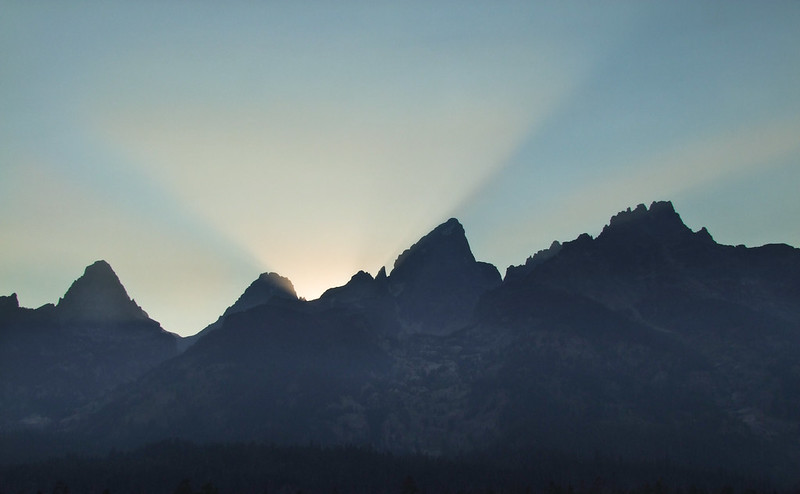 Last ray over the Grand Teton Cathedral Group, Grand Teton National Park