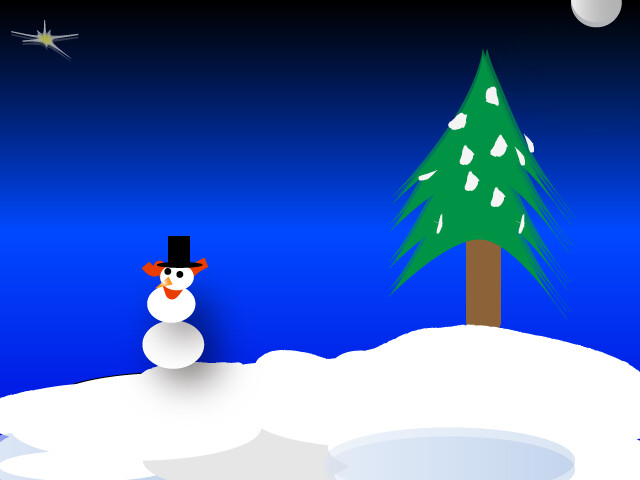 Illustrated drawing of a snowman, snow, and pine  tree.