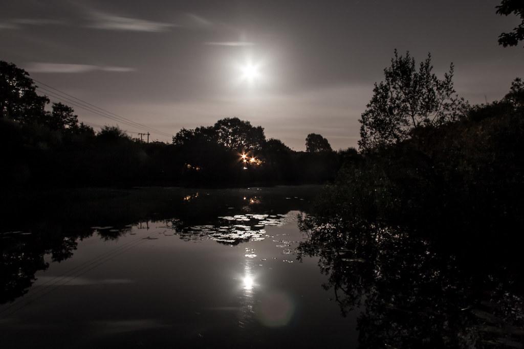 Moon over Creekmoor Ponds
