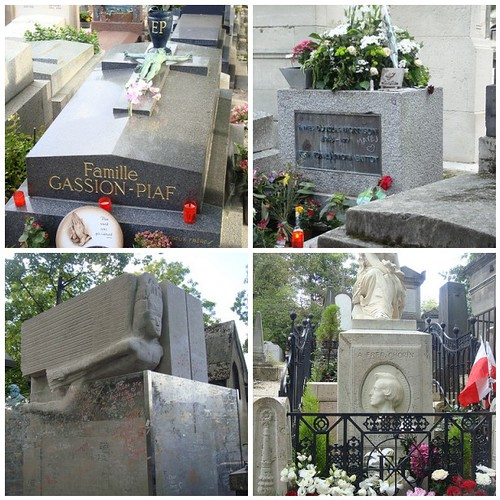 Clockwise from top left: Edith Piaf, Jim Morrison, Oscar Wilde, Chopin