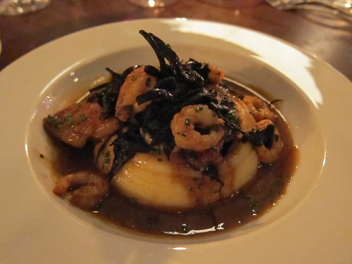 Confit Chicken Wings with Shrimps, Mushrooms and Potato Puree