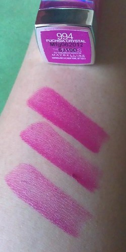 Maybelline The Jewels by Colorsensational Fuscia Crystal swatches