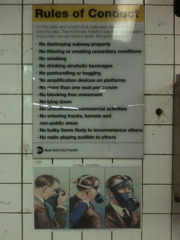 The Civilian Respirator - How to Adjust It. Courtesy: Jilly Ballistic (below The Rules of Conduct; 23rd & 6th Ave; downtown F/M)