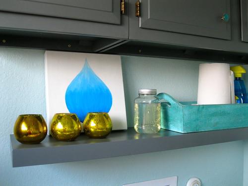 water drop painting on shelf