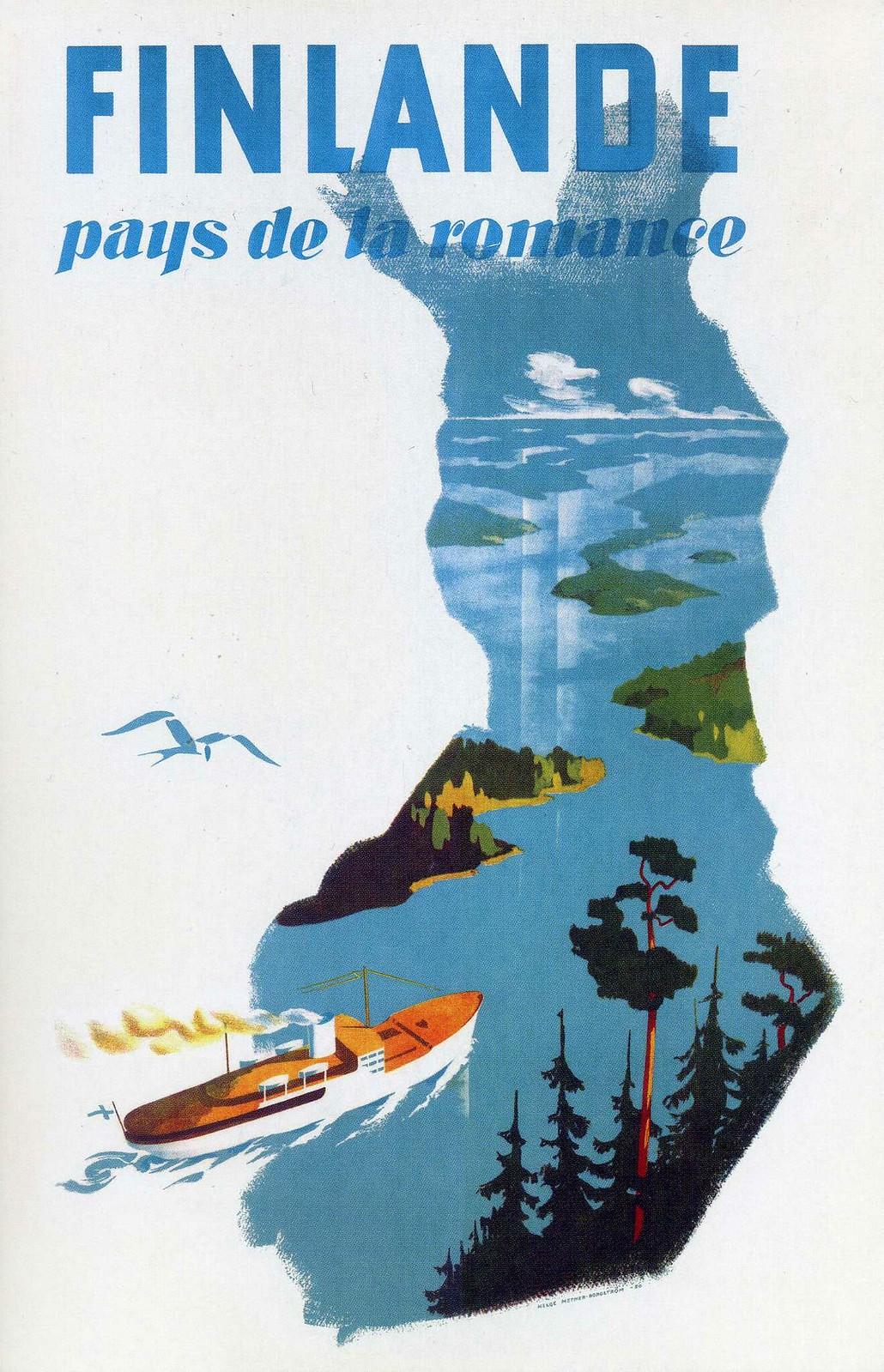 Finlande, french, old travel ad, pays de la romance, ranskankielinen vanha matkamainos
